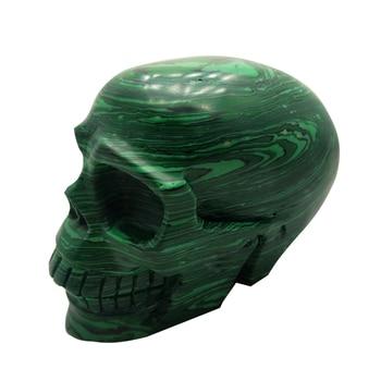 900-1000g Malachite Skull Quartz Crystal Skulls Hand Carved Ghost Crystal Figurine For Home Christmas Decorat