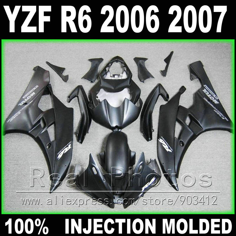 High quality bodywork for YAMAHA R6 fairing kit 2006 2007 Injection molding matte black 06 07