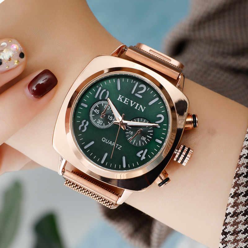כיכר נשים שעון מגנטי נירוסטה רוז זהב עמיד למים גבירותיי שעון יד עבור Montre Femme 2019 Relogio Feminino מתנה
