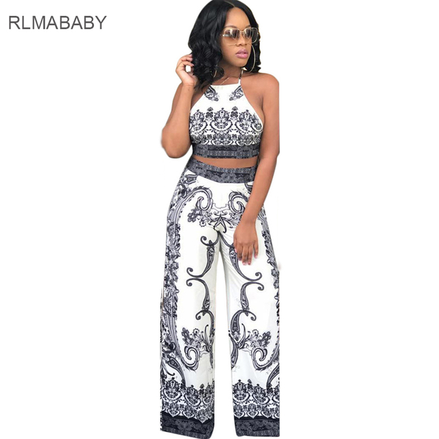 058f185929bc RLMABABY Casual Print Flower 2 Piece Set Long Jumpsuit Summer Beach Strap  Sleeveless Backless Bandage Wide Leg Playsuit Overalls