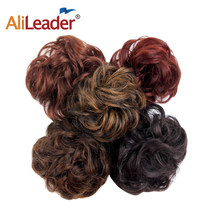 AliLeader Short Wavy Ponytail Blonde Red Curly Hair Extensions For Black Women Clip In Synthetic Drawstring Wrap Around Ponytail(China)
