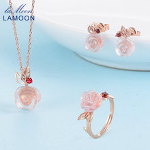 LAMOON 925 Sterling Silver Jewelry Sets FlowerRose Natural Pink Rose Quartz Women Fashion Women's Plants Jewelry Set Makeup 2107