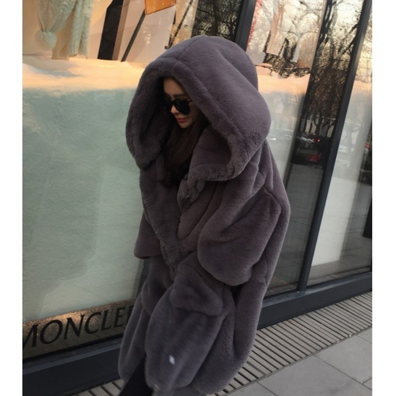 Plus Size Faux Fur Coat Woman With Hood Black Long Faux Fur Jacket Women Winter Coat Oversized Hoodie Zipper 2019 in Faux Fur from Women 39 s Clothing