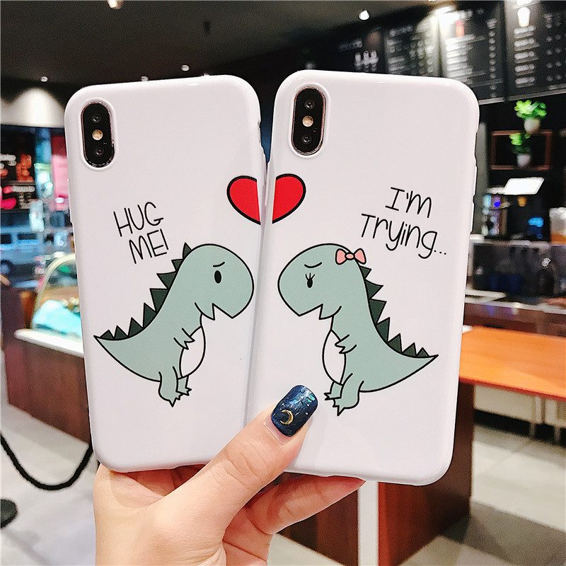 Cartoon Fun Little Dinosaur For Iphone 6 6S 7 8plus X Xs Xr Xsmax Couple Soft Shell Drop Mobile Phone Case
