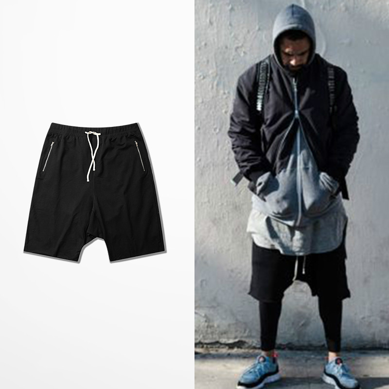 Men Summer Shorts Unedged Cuff Raw Cutting Hip Hop High Street Shorts Skateboard Dropped Crotch Cropped Shorts Zipper Pockets