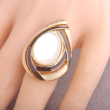 Blucome Enamel Esmalte Waterdrop Shaped Rings Gold Plated Oval Natural Stone Opal Rings For Women Party Finger Ring Bague Aneis