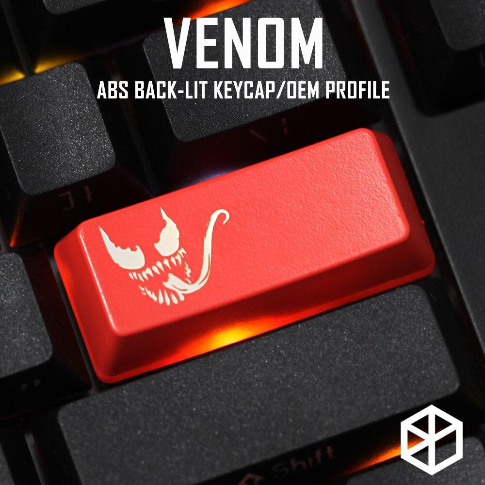 Novelty Shine Through Keycaps ABS Etched, Shine-Through Venom Superhero Black Red Custom Mechanical Keyboard Enter 2.25u