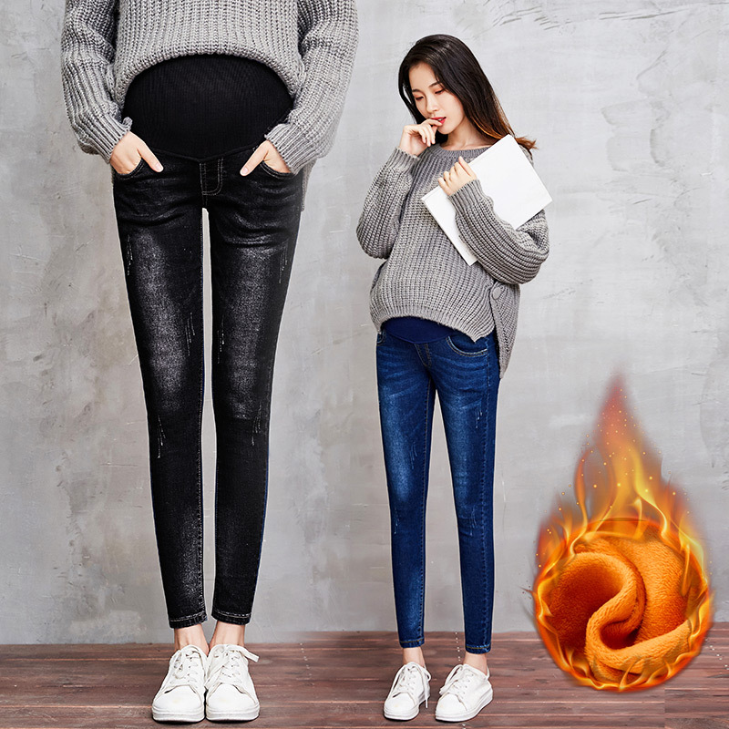 Pregnant Women Winter Plus Velvet Sexy Skinny Thick Warm Pencil Denim Pants Maternity Work Clothes Pregnancy Long Jeans Trousers summer women stretch slim pencil pants full length sexy ripped hole skinny high waist trousers plus size pantalon femme page 2