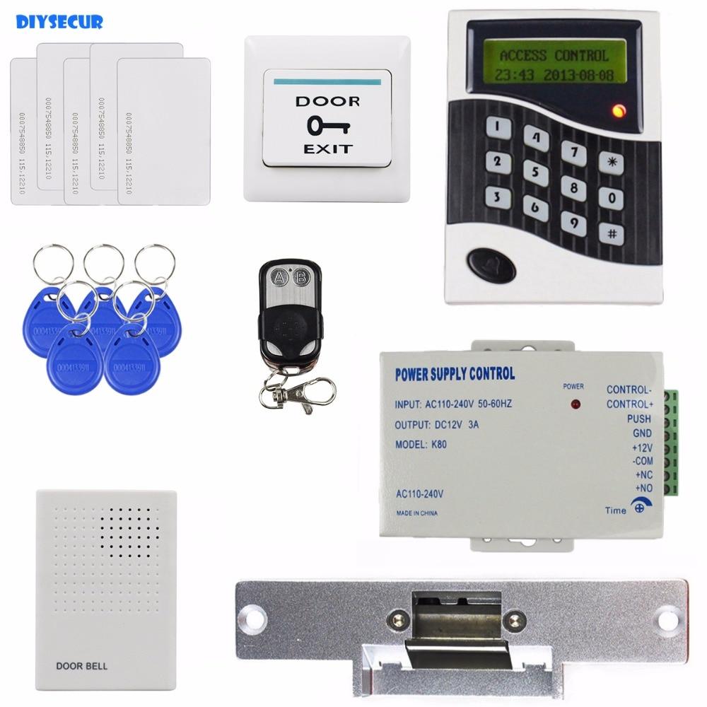 DIYSECUR 125KHz RFID Reader Password Keypad Door Access Control System Kit + Strike Lock + Door Bell raykube special offer access control kit electric strike lock password keypad rfid reader counter strike