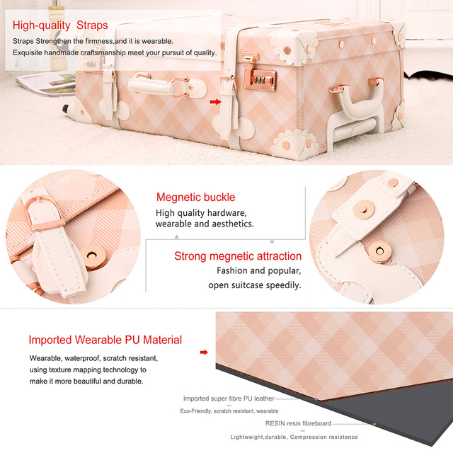 20″ – 26″ Cute Luggage Spinner Luggage Pu Leather Pink Grating Suitcase Women Trunk Vintage Rolling Luggage