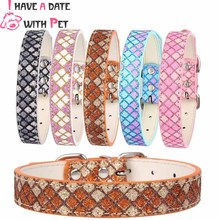 (1 piece)(I have a date with pet) Bling Sparking Powder leather material XS S M L Lattice pattern Pet dog collars necklaces