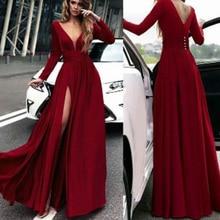лучшая цена Red Prom Dresses Deep V Neck Side Slit Long Sleeve Deep Red Vestidos de Fiesta Largos Elegantes de Gala