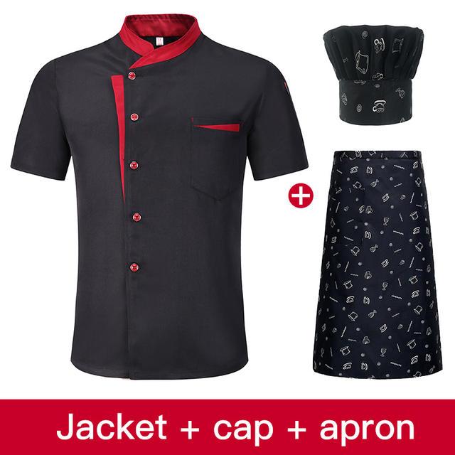 High Quality Unisex Chef Uniform Kitchen Workwear Jacket + Hat + Apron