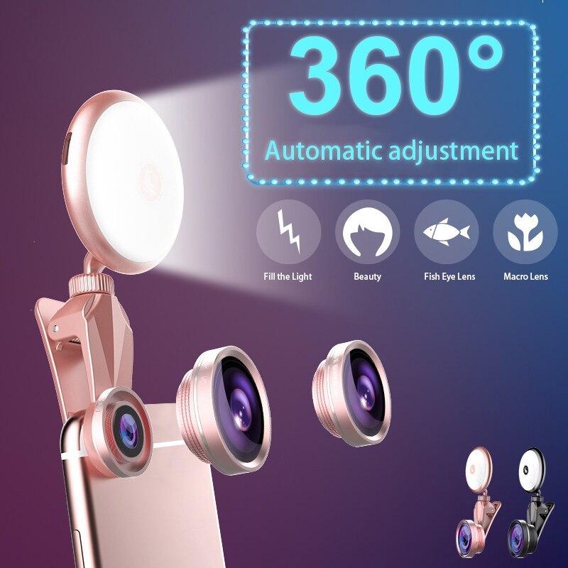 Universal LED Selfie Flash Light Beauty Artifact 9 levels Fill light adjustment with Fisheye Lens Wide Angle Lens Macro Lens