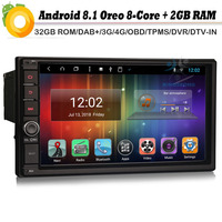 Doppio din Android 8,1 Авторадио Восьмиядерный DAB + автомобильное радио gps СБ Navi 4 г WiFi USB BT БД DVR RDS DVR DVT IN Bluetooth