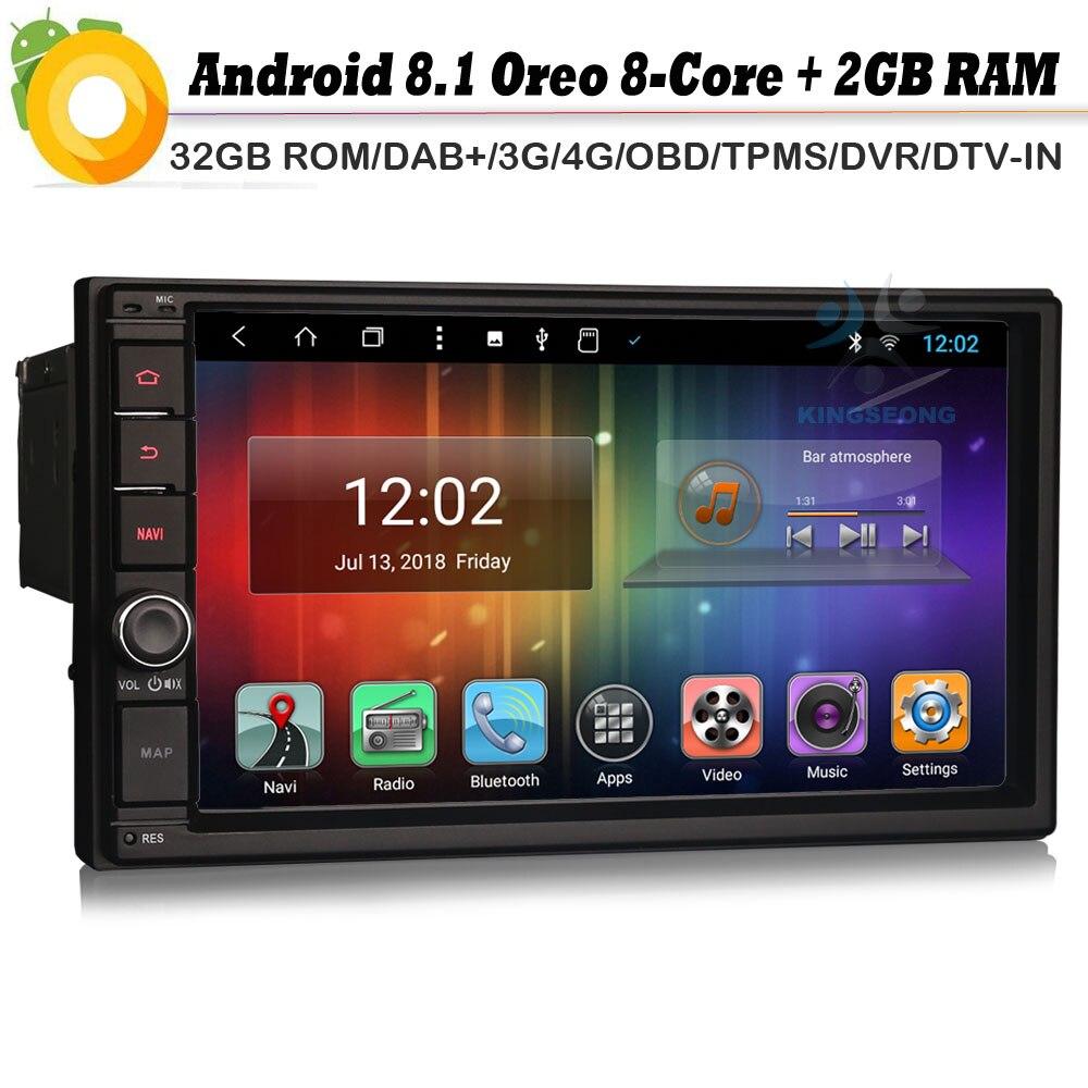 US $368 38 |Doppio din Android 8 1 Autoradio Octa Core DAB+ Car Radio  Player GPS Sat Navi 4G WiFi USB BT OBD DVR RDS DVR DVT IN Bluetooth-in Car
