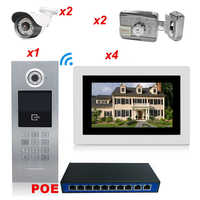 7'' 720P WiFi IP Video Door Phone Video 4 Apartments Home Access Control System + 2 IP Camera + 2 Electronic Locks