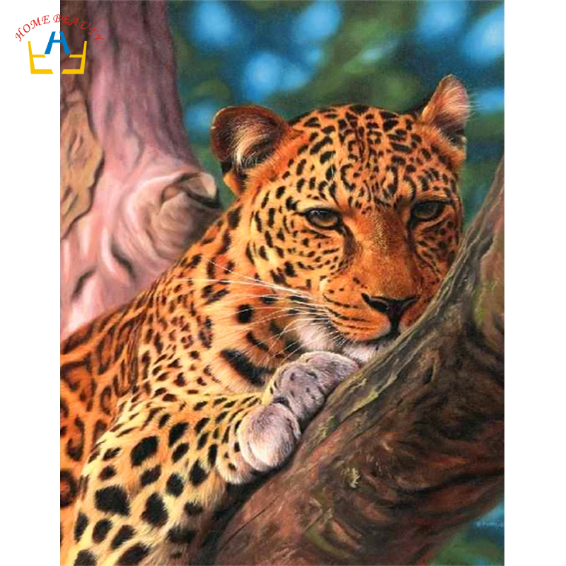 Leopard Bedroom Ideas For Painting: Aniamls Leopard Picture By Numbers Wall Art Paintings