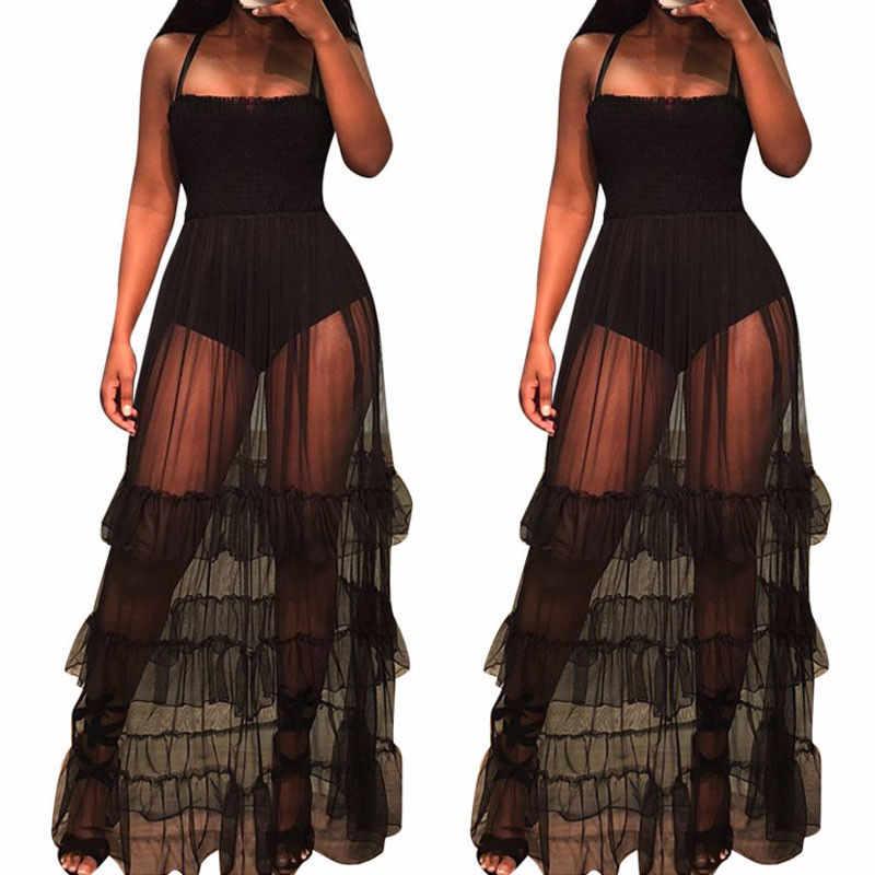 Женское пляжное Прозрачное платье с гофрированным подолом, прозрачный сетчатый в горошек, Платья На Бретельках, женское сексуальное Панорамное боди, Пляжное Платье