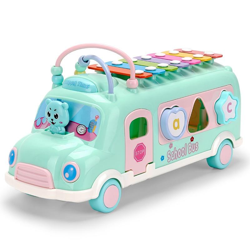 Caxx детский автобус стук фортепиано детские головоломки Beat Музыкальный барабан фортепиано стук инструменты игрушечный автобус Детские Ранние развивающие игрушки - Цвет: green