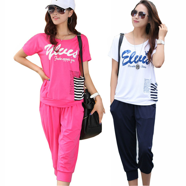 Прохладное Лето Леди Мода Костюмы Большой Размер М-4xl Хлопчатобумажных Свободные Тис + Capris Брюки Женщины Повседневная Одежда набор