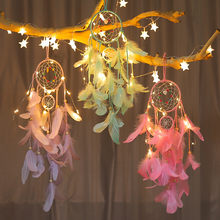 LED Star light Dream Catcher Feather Handmade Dreamcatcher with String Light Innovative Home Bedside Wall Hanging Decoration(China)