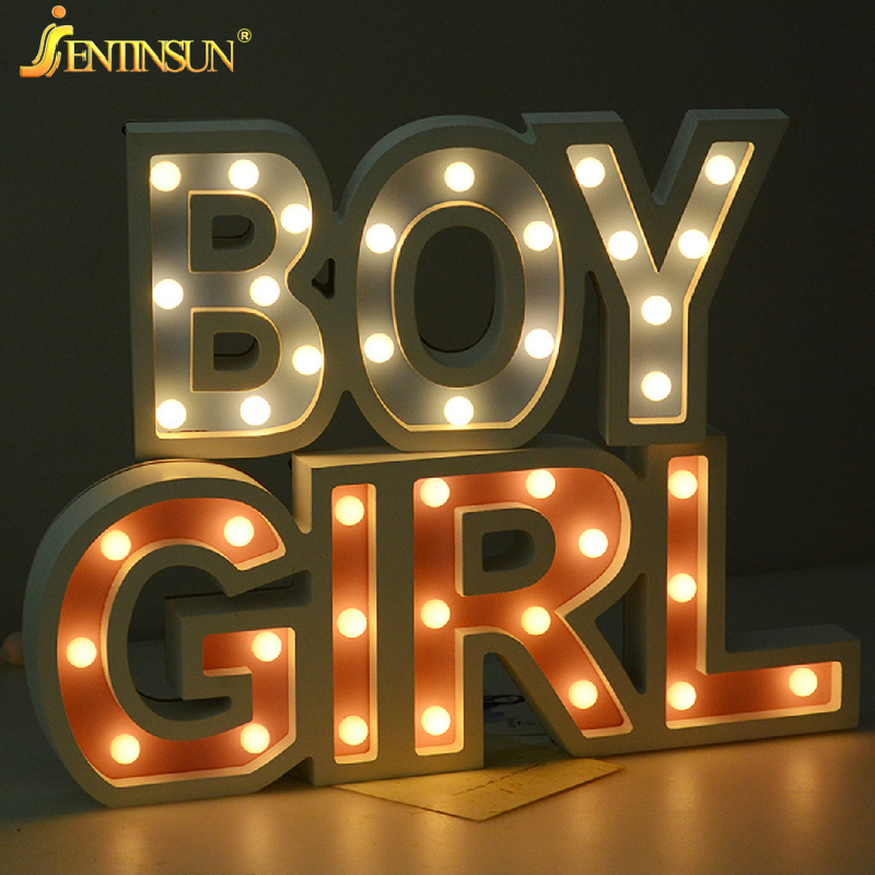 Creative Letter LED Lights 3D Boy Girl Letters Night Light Home Lighting Children Kids Gifts Room Bedside Decoration Table Lamp yimia creative 4 colors remote control led night lights hourglass night light wall lamp chandelier lights children baby s gifts
