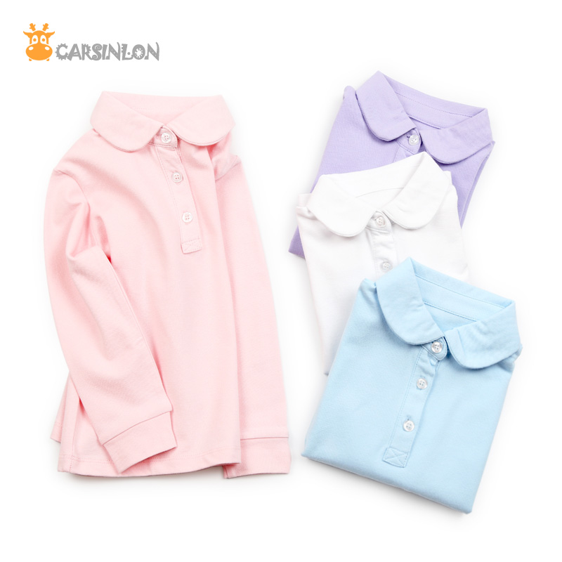 Free Shipping Quality 2018 Autumn Winter Girls Shirts Polo Kids Long Sleeve Peter Pan Collar Thin Cotton Solid Tops Tees White brief polo collar solid color long sleeve long blouse for women