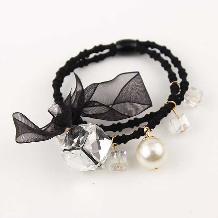 Bowknot Crystal Pearls Elastic Ponytail Holders High Level Double Layers Black Hair Accessories Girl Women Rubberbands Tie Gum
