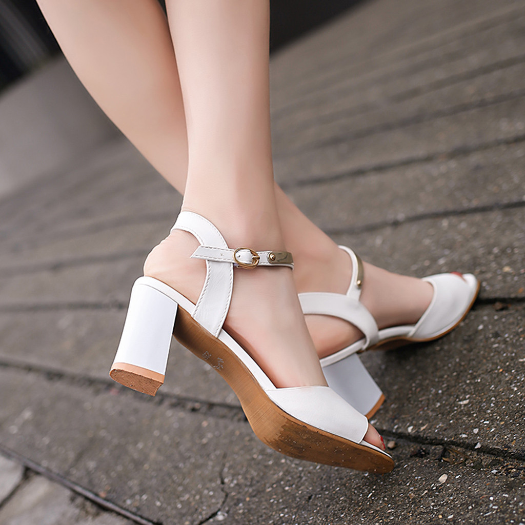2019 hot sale Fashion women Sandals Peep Toe High Heel Shoes women White Elegant Square Heel h Sandals zapatos de mujer in Middle Heels from Shoes
