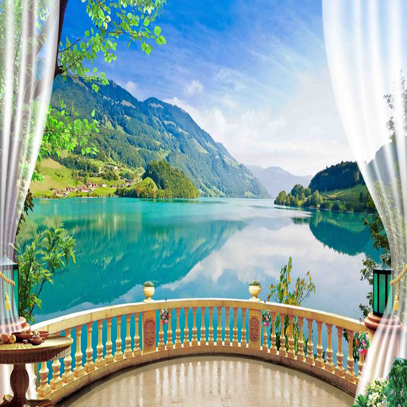 3d Brick Pattern Wallpaper 3d Wallpaper Balcony Blue Sky Lake Forest Nature Landscape
