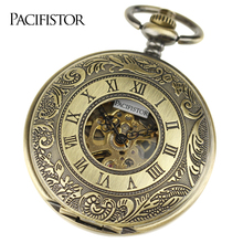 PACIFISTOR Pocket Watches Men Stainless Steel Case Classic Steampunk Wind Up Vintage Mechanical Watches Relojes Hot Sale(China)