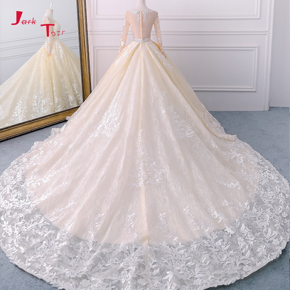 Weddings & Events Jark Tozr Robe Princesse Mariage Lace Inside Vintage Ball Gown Wedding Dresses Long Sleeve 2019 Illusion Back Traje De Novia