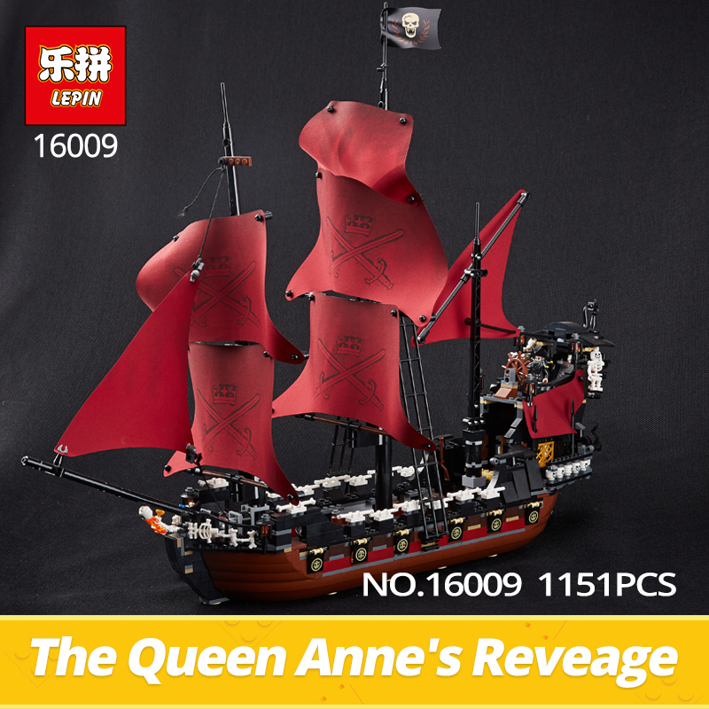Lepin Building Bricks 16009 1151Pcs The Pirates of Caribbean Queen Anne's Revenge Model Building Blocks Toys Gifts for Kids 4195 dhl lepin 22001 1717pcs pirates of the caribbean building blocks ship model building toys compatible legoed 10210