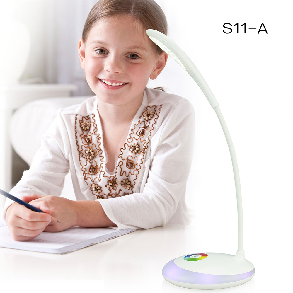 HAMRVL 3 Level Touch RGB Base Eye protection Lamp Night Dimmable LED Desk Lamp USB Charging Book Reading Light Rechargeable