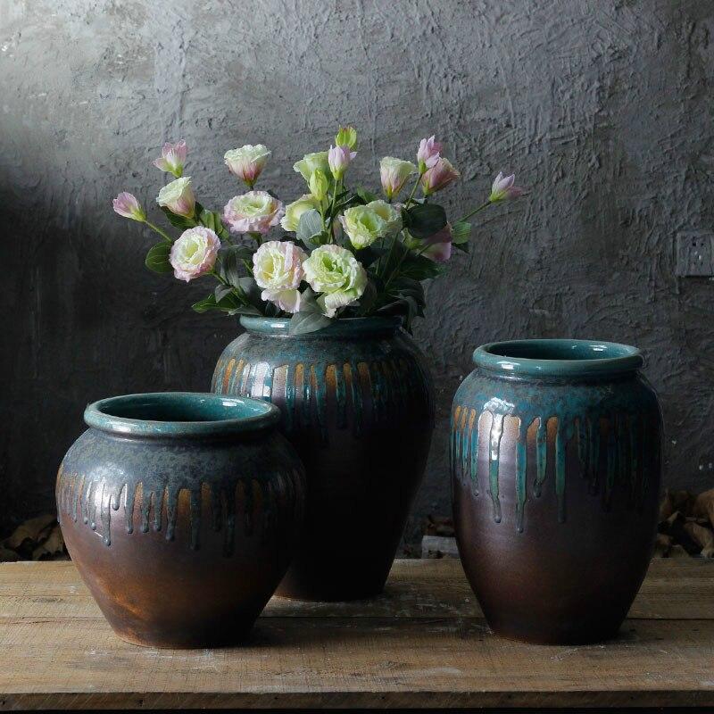 Vintage Style américain pastorale Antique glaçure fluide en céramique poterie Pots de fleurs Villa jardin conception porcelaine Vases