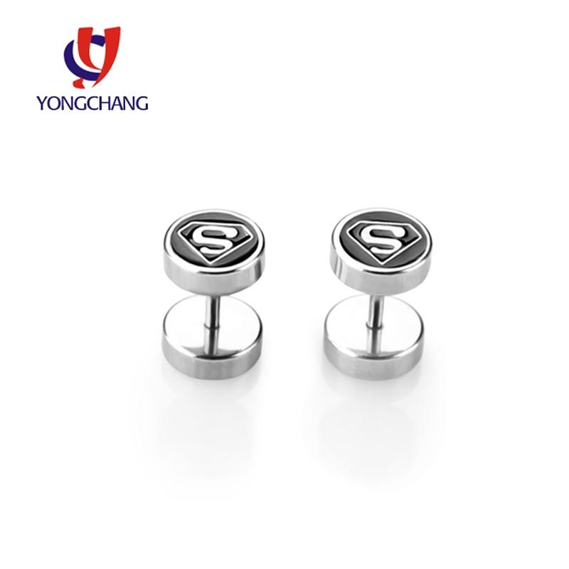 Wholesale 20PCS lot rock earrings round ear stud gold silver yinyang taiji superman sign fashion jewelry for men women
