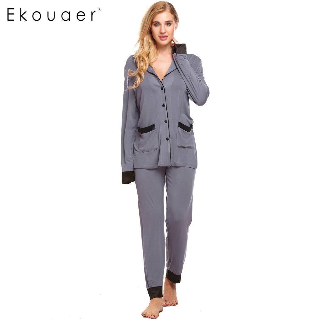 Ekouaer   Pajama     Set   Women Spring Autumn   Pajamas   Long Sleeve Button-Down Shirt Top and Long Pants Bottom Nightwear Female Homewear