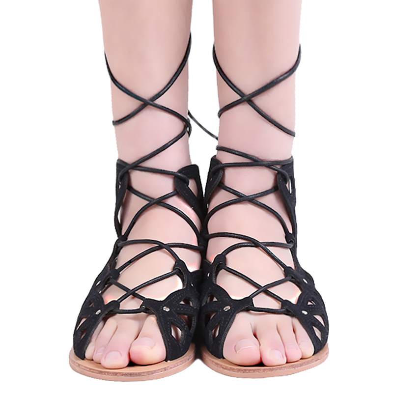5a9d89ae19f Hollow Out Women Gladiator Sandals Vintage Lace Up Low Heel Wedges Summer  Shoes For Women Open Toe Zipper Zapatos Mujer-in Women s Sandals from Shoes  on ...