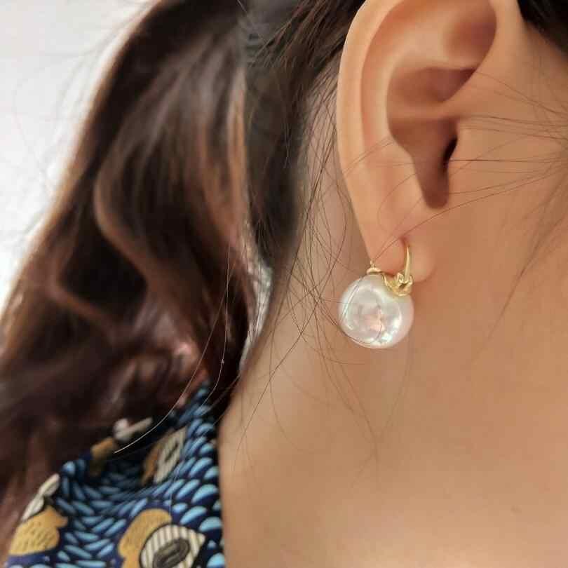 2019 Nuovo Round Orecchini di Perle Argento 925 Dei Monili di Stile Dell'annata di Perle D'acqua Dolce Naturale Orecchini con perno Per Le Donne del Regalo