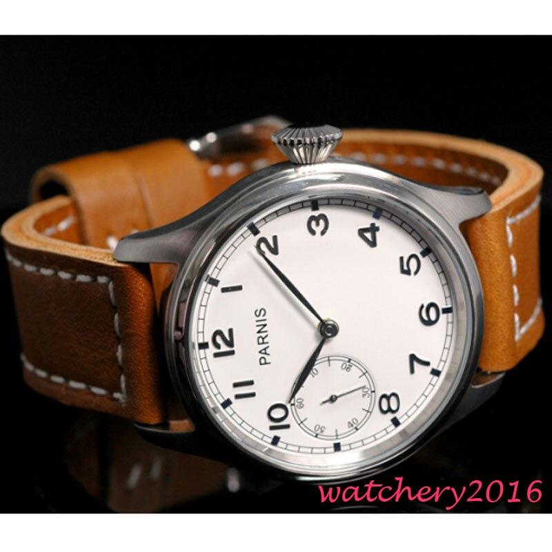 47mm Parnis Witte Wijzerplaat Rvs Case Lederen Band Top Merk Luxe Nieuwste St 6497 Mechanische St Handmatige Wind Heren Horloge