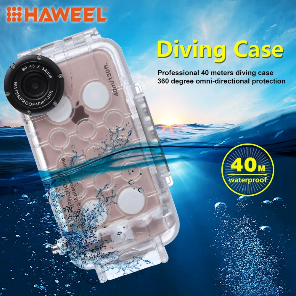 HAWEEL Diving Phone Housing For iPhone 7&7/8 Plus 40m/130ft Professional Waterproof Underwater Protective Cover Case For iPhone