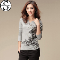 2014 Fashion Autumn Women V Neck Printed T Shirt Long Sleeve Tees Female Cotton Blouse Basic