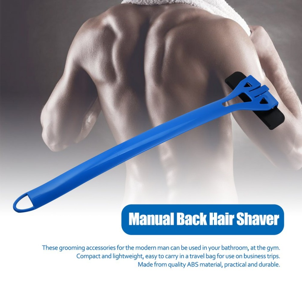 Portable Epilator Men Back Hair Removal With Extra-Long Handle Wet/Dry Disposable Razor Blades Close Pain-Free Shave