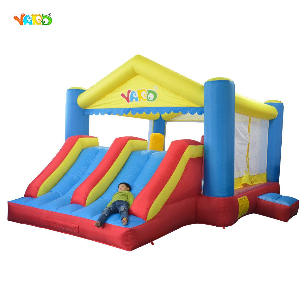 YARD Double Inflatable Slide Inflatable Toys Bounce House Cama Elastic Trampolines For Kids Bouncy Castle giant super dual slide combo bounce house bouncy castle nylon inflatable castle jumper bouncer for home used