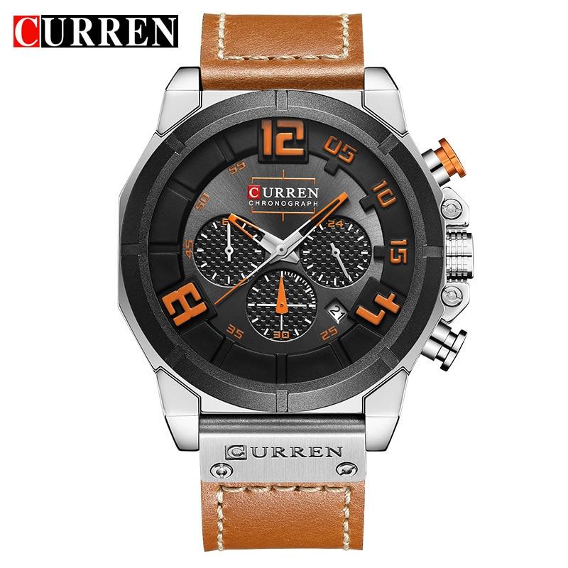 цена на CURREN Brand Top New Fashion Casual Quartz Wrist Watch Men Leather Relojes Strap Round Analog Quartz Water Resistant Male Clock