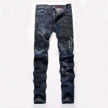 2016 Новый бренд тонкий прямой участок джинсы европейский стиль рок вышитые колющие джинсы мужчин джинсовые брюки K573