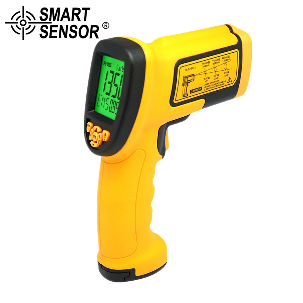 SMART SENSOR -18-1350C infrared thermometer Noncontact Digital high temperature Laser Electronic Temperature Gun Measurement elecall 50 800c adjustable emissivity autooff lcd noncontact digital laser infrared thermometer ir high temperature gun tester page 9