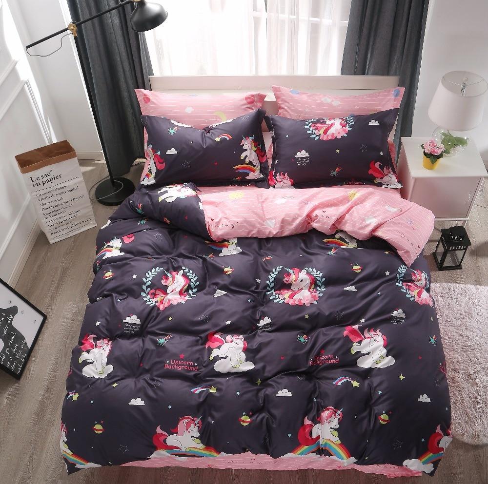 Kartun 3 4 Pcs Rainbow Unicorn Duvet Cover Set Tempat Tidur Twin