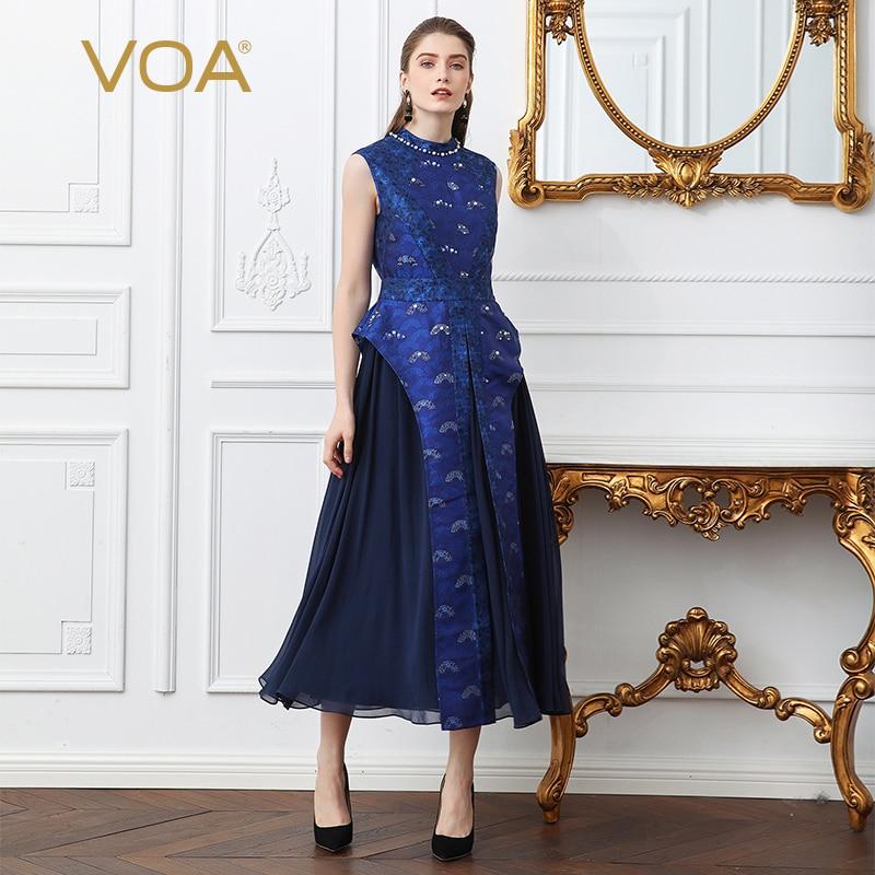43090b944a VOA Yellow Heavy Silk Plus Size Christmas Dress Women Geometric ...